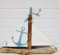 Aqua Anchor Driftwood Sailboat