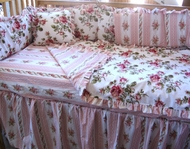 Beach Cottage  Baby Bedding Pink