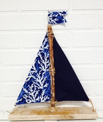 Blue Coral Driftwood Sailboat