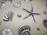 Coastal Seashell Curtain Panel Black Sea