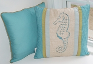 Coastal Seashell Quilted Throw Pillow Cape Cod Seahorse