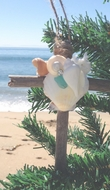 Driftwood and Seashell Cross Ornament