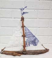 Driftwood Sailboat Blue Coral