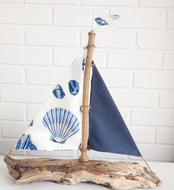 Driftwood Sailboat Blue Seashell