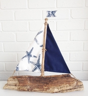 Driftwood Sailboat Blue Starfish