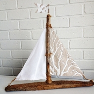 Driftwood Sailboat Natural Coral