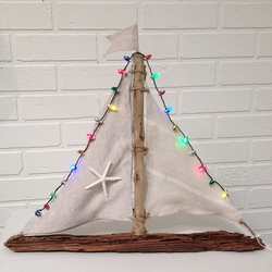 Driftwood Sailboat with Lights