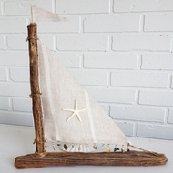 Driftwood Sailboat with seashell Trim Amalfi Coast