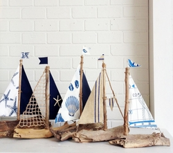 Driftwood Sailboats Blue Sea