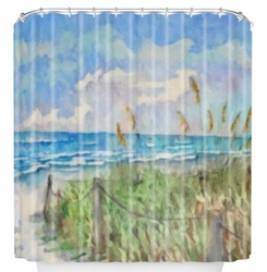 Emerald Isle Coastal Shower Curtain