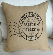 Huntington Beach Longitude Latitude Pillow