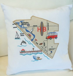 Huntington Beach Map Pillow