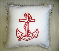 Nautical Anchor Pillow Red