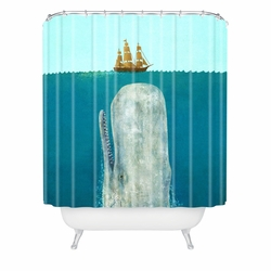 Nautical Blue Whale Shower Curtain