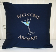 Nautical Pillow Welcome Aboard Martini
