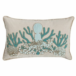 Oblong Beaded Octopus Pillow