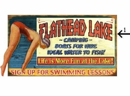 Personalized Lake Sign Swimming at the Lake