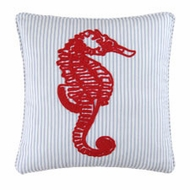 Red and Navy Seahorse Pillow