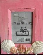 Rustic Seashell Picture frame Cottage Pink