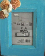 Rustic Seashell Picture frame Turquoise blue