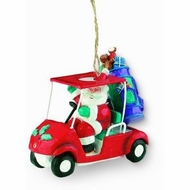 Santa in Golf Cart Holiday Ornament