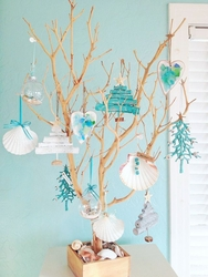Sea Branch Tree with 12 Ornaments Natural