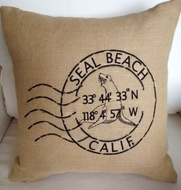 Seal Beach Burlap Pillow