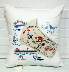Seal Beach Map Pillow