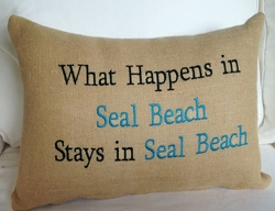 Seal Beach Pillow What Happens In Seal Beach