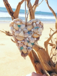 Seashell and Sea Glass Heart Ornament