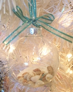 Seashell filled Glass Ornament set of 2