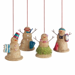 Snowmen Ornaments Set of 4