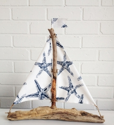 Driftwood Starfish Sailboat Oceana Navy
