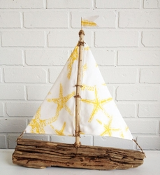 Driftwood Starfish Sailboat Oceana Yellow