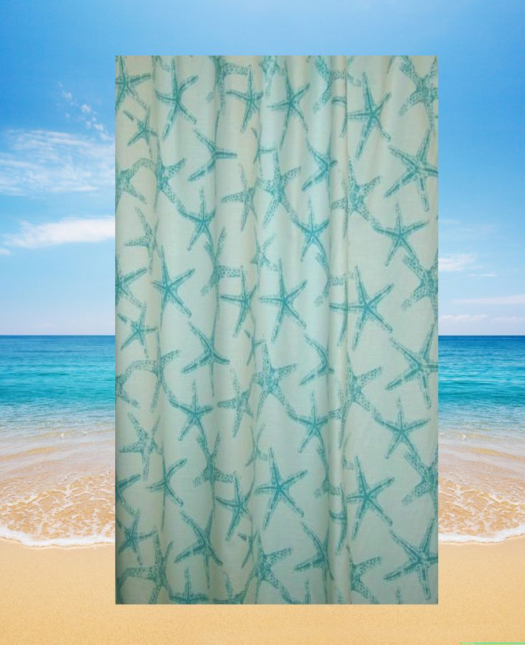 Wonderful Starfish Shower Curtain Tidepool