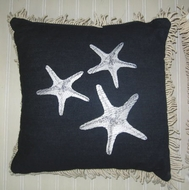 Sunbrella Black Starfish Pillow