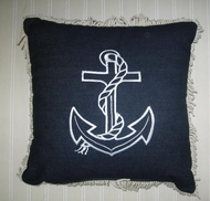 Sunbrella  Pillow Nautical Anchor Blue