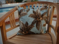 Tropical Blue Palm Pillow