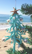 Turquoise Coral Tree Ornament set of Two