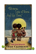 Vintage beach Sign Kids in the Moonlight