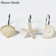 White Seashell Shower Curtain Hooks