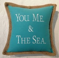 You Me and the Sea Pillow Aqua