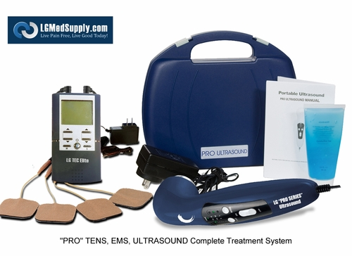 """TOP TREATMENT KIT - """"LG-PROCOMPLETE"""" TENS/Muscle Stimulator Combo and Pro Ultrasound Unit Complete Treatment System"""