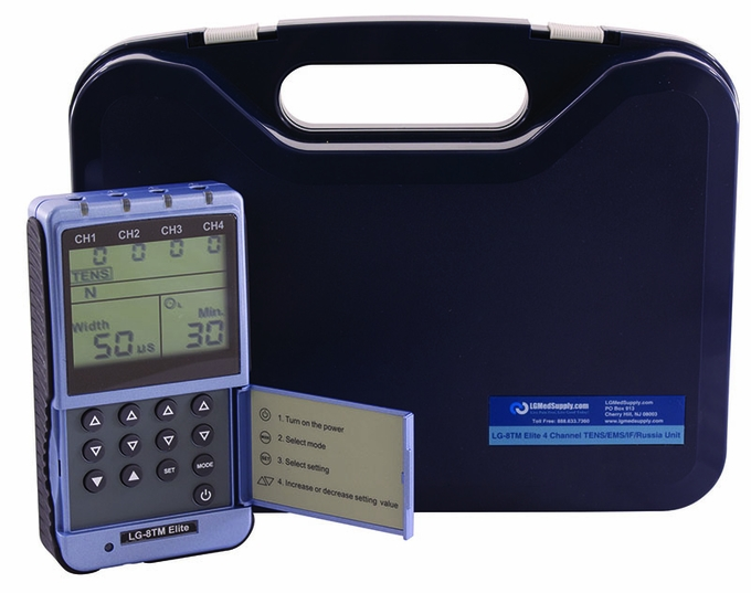 8 Electrode Digital TENS, Muscle Stimulator, Russian Stim & Interferential Unit - AC Adapter / Battery (Everything Included for Immediate Use)