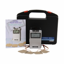 Professional LG-7000 Digital TENS Unit w/ 5 Treatment Modes and LCD Screen - Hard Carrying Case, Electrodes, Lead Wires, and Battery Included