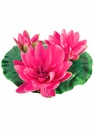 1/2 Dozen (6) - 9 inch Artificial Floating Lotus With Waterdrop 2 Flowers & 1 Bud in Pink/Lavender