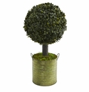 1.5� Boxwood Ball Topiary Artificial Tree in Green Tin (Indoor/Outdoor) -
