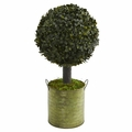 1.5' Boxwood Ball Topiary Artificial Tree in Green Tin (Indoor/Outdoor) -