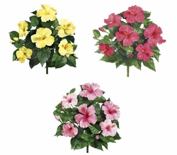 1 Dozen - 15 inch Hibiscus Silk Flower Bushes