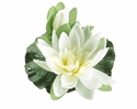 1 Dozen - 4 inch Artificial Floating Lotus With Waterdrop 1 Flower & 1 Bud in Cream